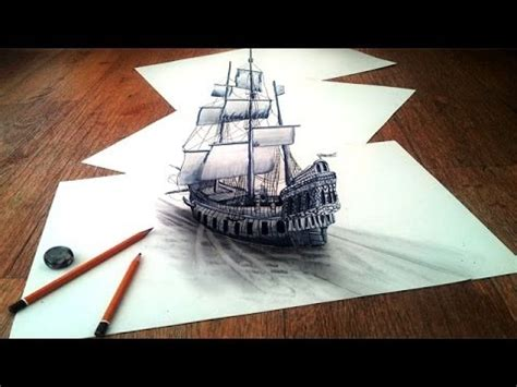 How To Draw A 3d Boat On Paper by How To Draw A 3d Optical Illusions On Paper Step By Step