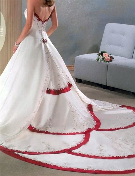 red  white wedding dress sweetheart satin ball gown