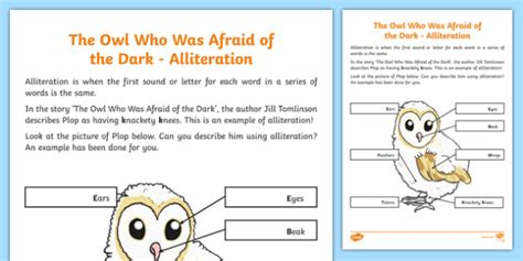 alliteration worksheet activity sheet worksheet