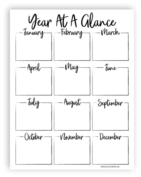 year   glance printable templates printable