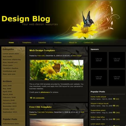 design blog free website templates in css html js format