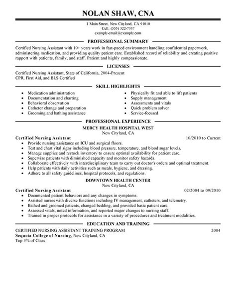 Nursing Aide and Assistant Resume Examples {Created by ...