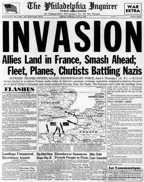 WWII newspaper headlines from the D-Day invasion of France (1944) - Click Americana