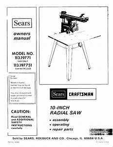 Craftsman 113 198110 Radial Saw Owners Instruction Manual