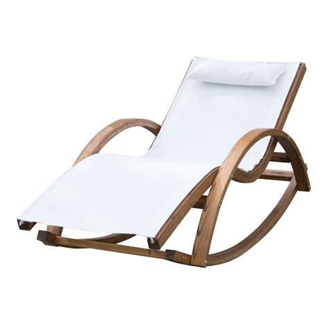 transat chaise longue outsunny garden wooden recliner rocking chair ideal home