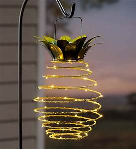 Hanging solar lantern decoration pineapple accents
