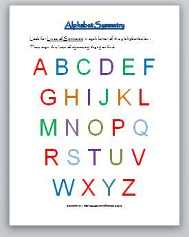 alphabet  symmetry classroom freebies