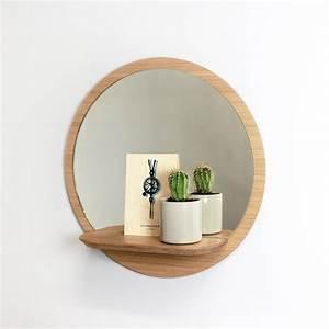 miroir rond bois avec tablette miroir etagere sunrise With miroir wc
