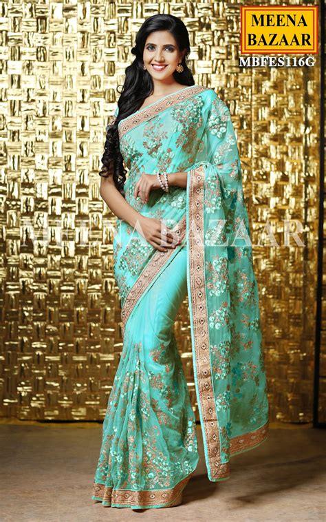 aquamarine embroidered saree online shopping for ethnic wear buy designer sarees lehengas