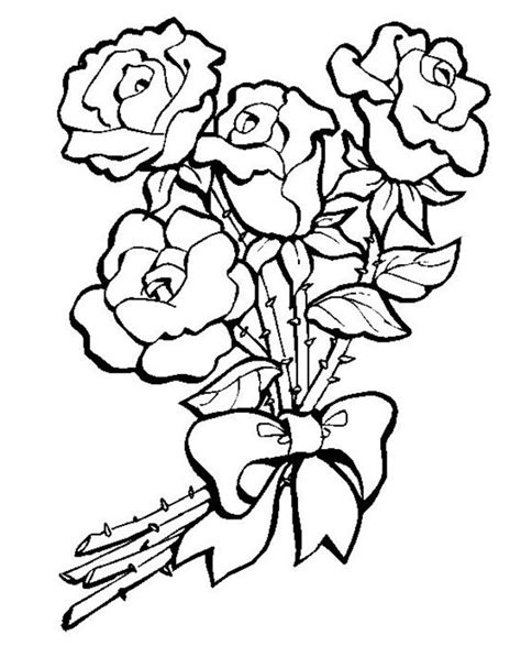 coloring pages   bunch  roses  kids
