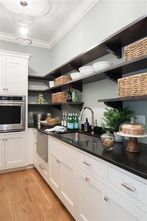 Black Kitchen Pantry by White Cabinets With Black Pantry Shelves Transitional