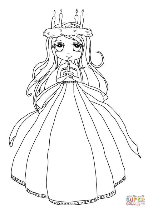 ste da colorare principesse disegno di ragazza della festa di s lucia da colorare
