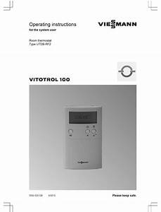 Viessmann Vitotrol 100 Operating Instructions Manual Pdf