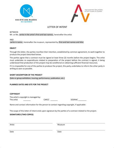 letter  intent  job transfer creative template