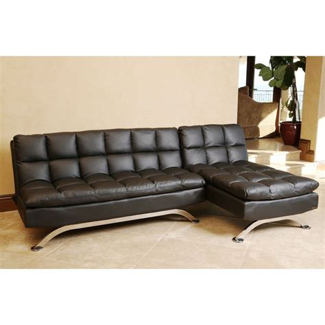 leather sectional sleeper sofa abbyson living vienna black leather sofa bed and chaise
