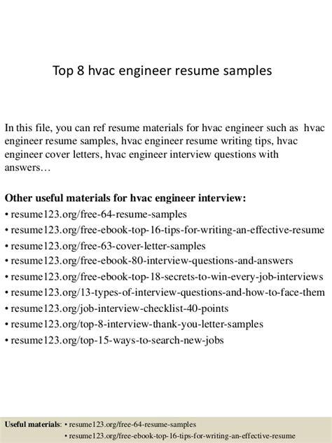 resume for hvac project engineer top 8 hvac engineer resume sles