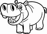 Hippo Coloring Funny Printable Smiling Pages Outline Drawing sketch template