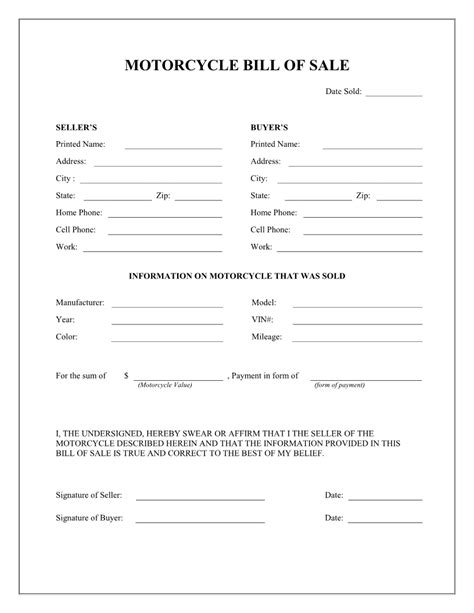 printable sample motorcycle bill  sale form laywers