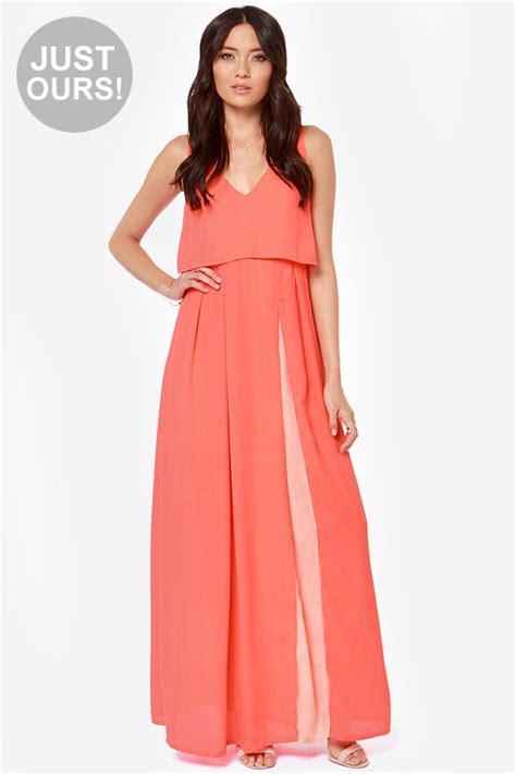coral color dresses coral dress neon coral dress maxi dress color