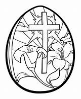 Easter Coloring Pages Religious Cross Flowers sketch template