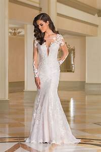 Style 8870 lace fit and flare bridal gown with sheer lace for Lace fit and flare wedding dress with sleeves