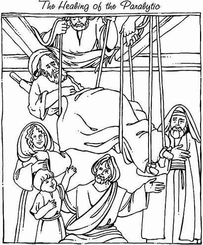 Coloring Jesus Heals Mark Crippled Sheets Testament