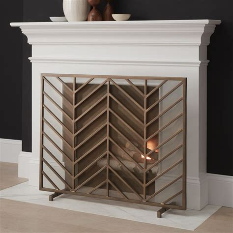chevron brass fireplace screen reviews crate  barrel