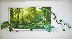 jungle murals jungle mural trompe l39oeil sunlight effect With decor mural trompe l oeil