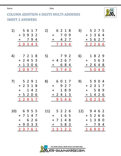4 digits addition with decimals free math addition worksheets 4th grade