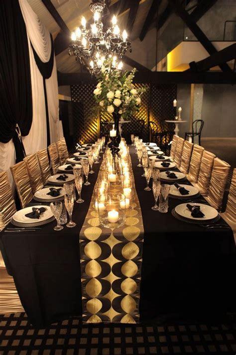 black  gold wedding inspiration receptiondecor