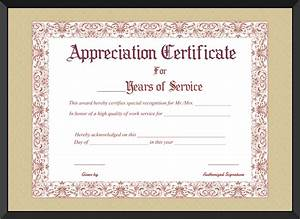 appreciation certificate for years of service template With recognition of service certificate template