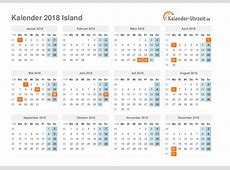 Feiertage 2018 Island Kalender & Übersicht
