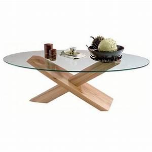 Table Basse Bois Et Verre : table basse verre et bois ovale table basse table pliante et table de cuisine ~ Teatrodelosmanantiales.com Idées de Décoration