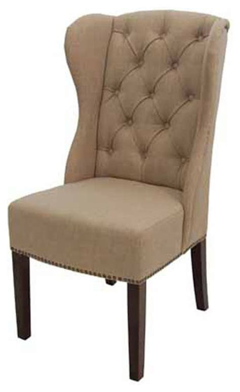 high back wing tufted dining arm chair in or charcoal