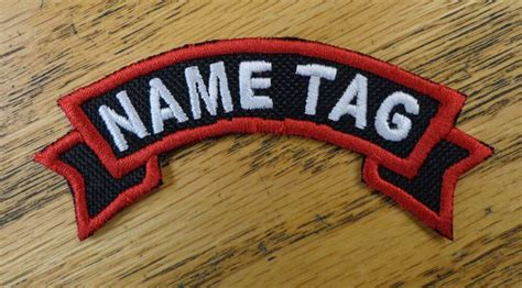 Custom Embroidered Motorcycle Ribbon Name Officer Tag