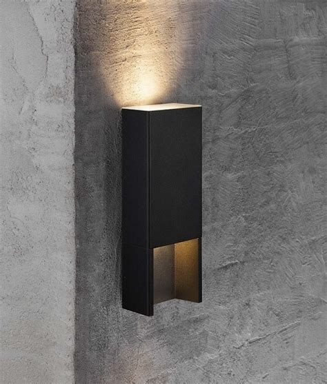 black rectangular up and exterior wall light