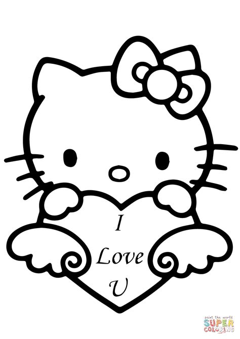 kitty   love  heart coloring page