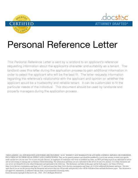 sample personal reference letter  rental property