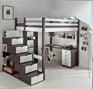 Chambre fille chambre d39ado fille avec lit mezzanine for Chambre avec lit mezzanine