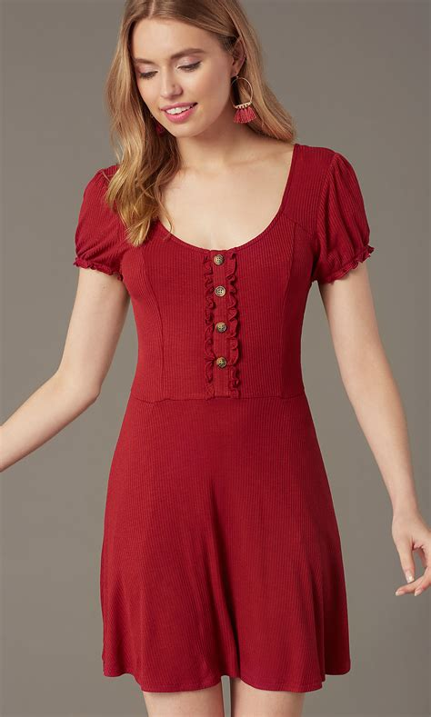 Short Ribbed-Knit Casual Red Party Dress - PromGirl