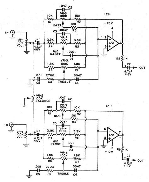 Bass Mid Treble Tone Control Circuits Projects Using