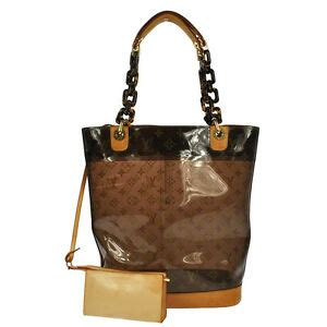 auth louis vuitton brown monogram clear tote bag ambre