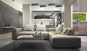 Inspiring examples of use of grey in luxury interior design for Living room furniture to match grey walls