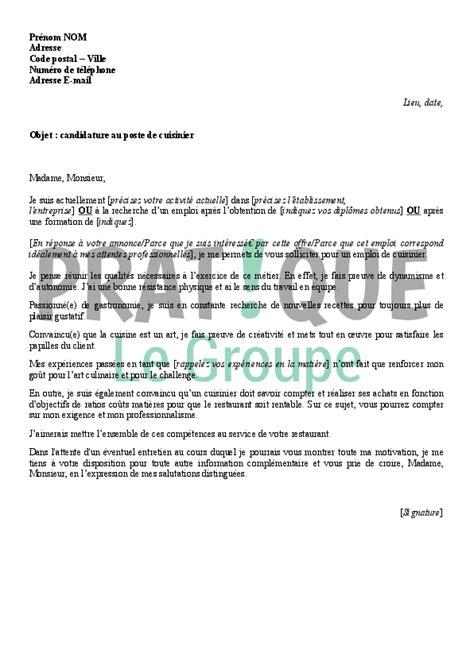lettre de motivation de cuisine lettre de motivation pour un emploi de cuisinier pratique fr