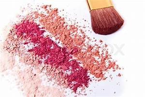 Makeup powder with brush white background | Stock Photo ...