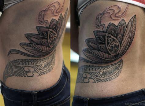 Classic Lotus Tattoos On Rib