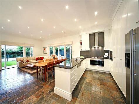 open plan kitchen flooring ideas classic open plan kitchen design using slate kitchen 7202