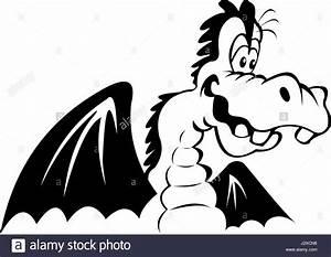 Drachen Schwarz Weiß : schwarz wei darstellung eines gl cklichen cartoon drachen isoliert auf einem wei en ~ Orissabook.com Haus und Dekorationen