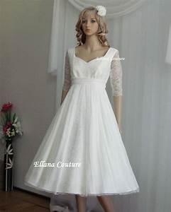 Alice empire waist tea length wedding dress vintage for Empire style wedding dress