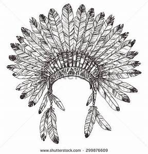 Hand Drawn Native American Indian Headdress. Vector ...